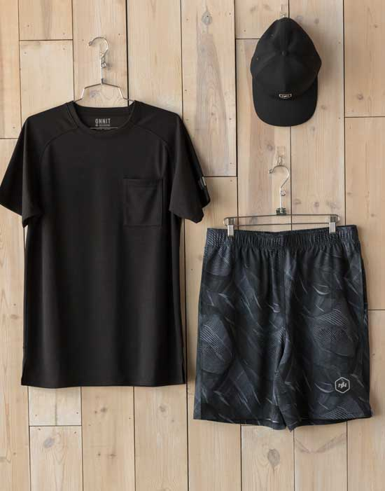 Curated performance wear outfit for men, 1 of 3