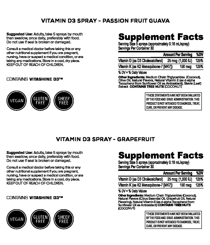 Vitamin D3 Spray with Vitamin K2 In MCT Oil