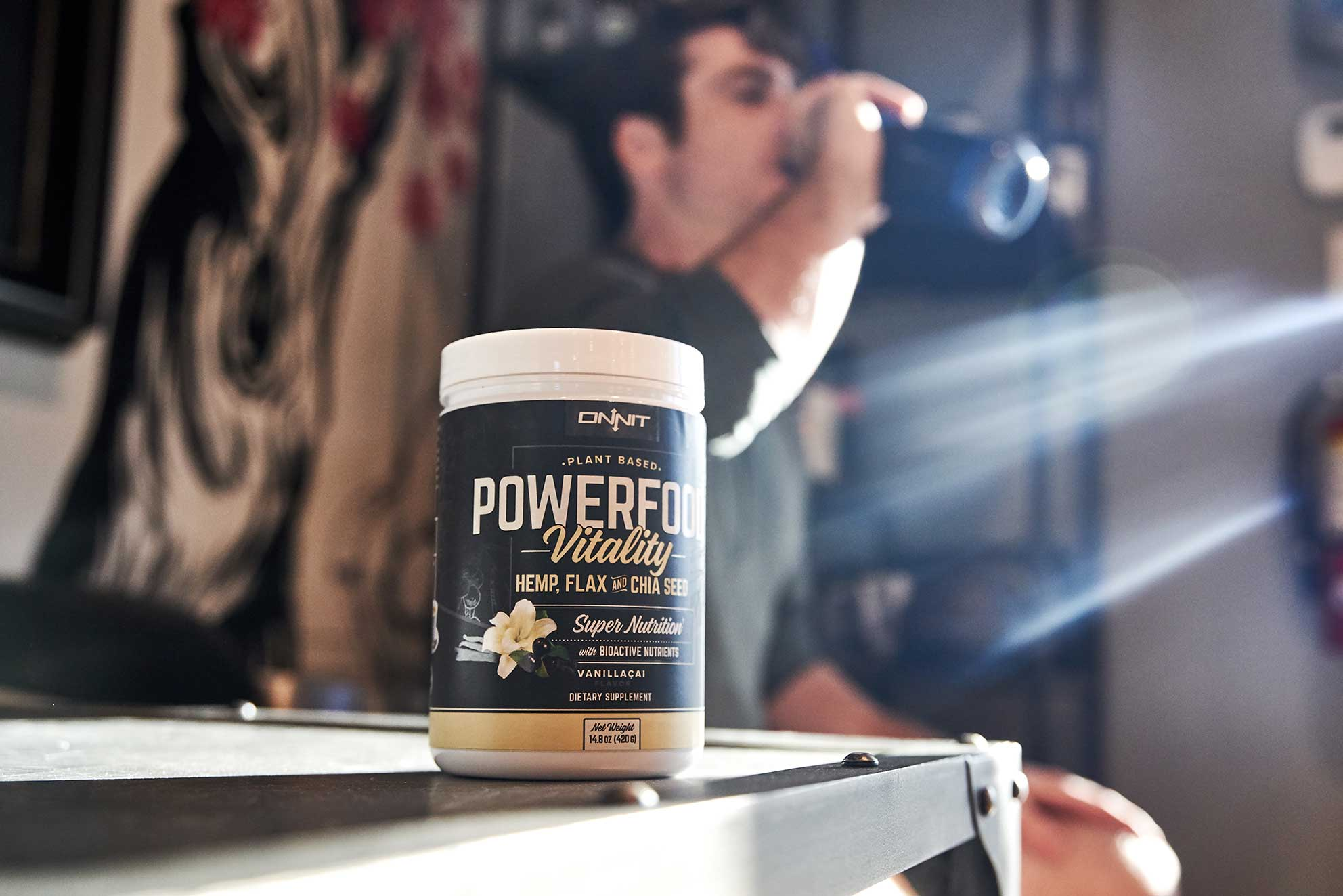 Athlete drinking Powerfood Vitality