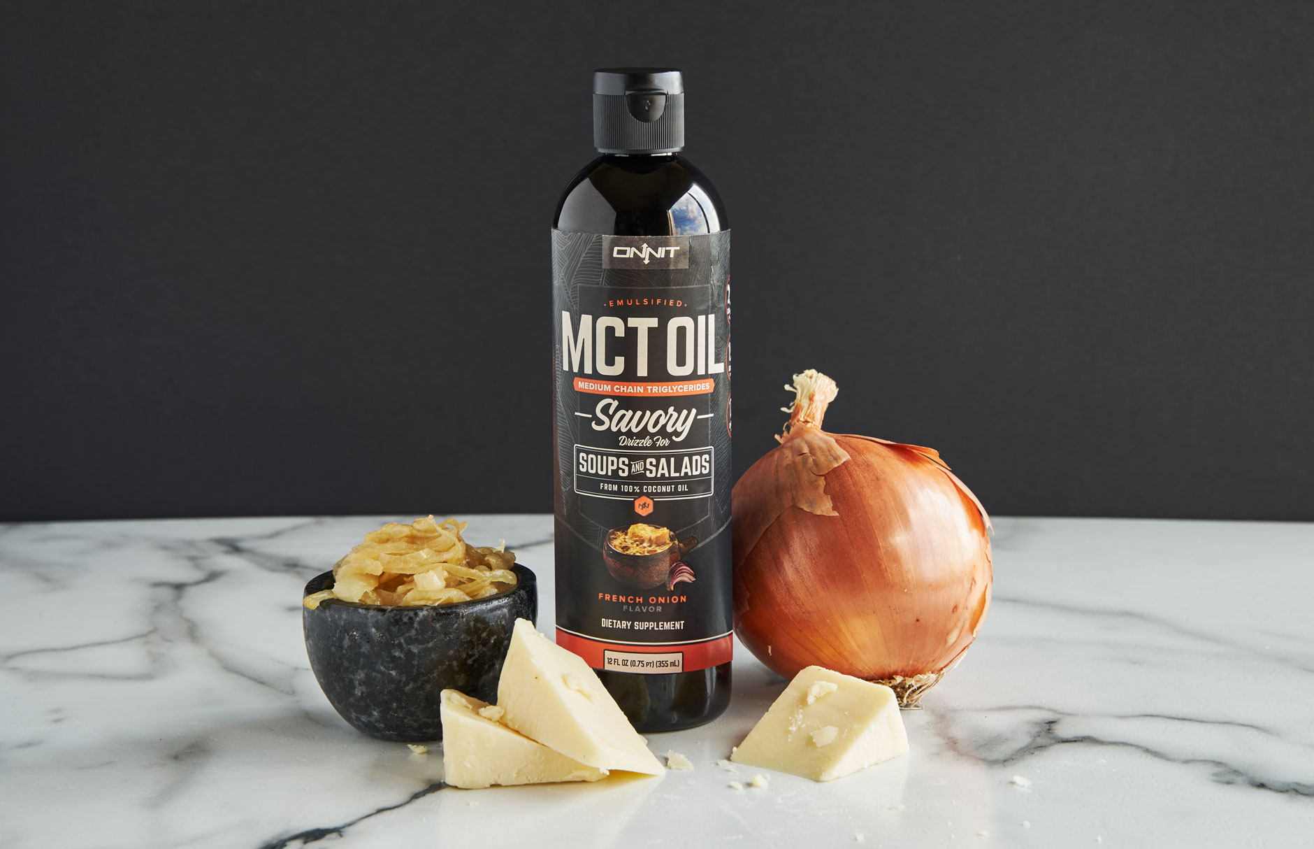 Onnit Savory Emulsified MCT Oil, French Onion Flavor